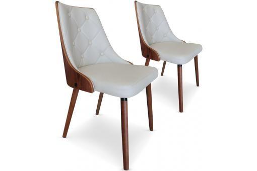 lot de 2 chaises scandinaves cadix bois noisette creme chaise design pas cher
