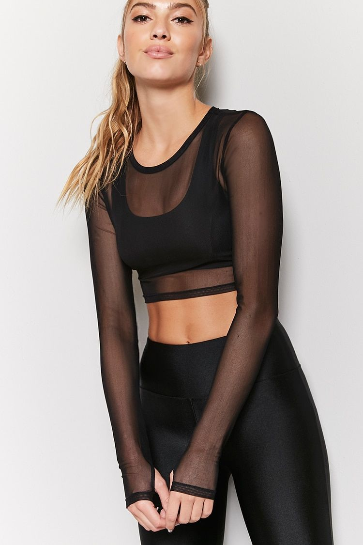96aa1db333 Product Name Active Sheer Mesh Crop Top
