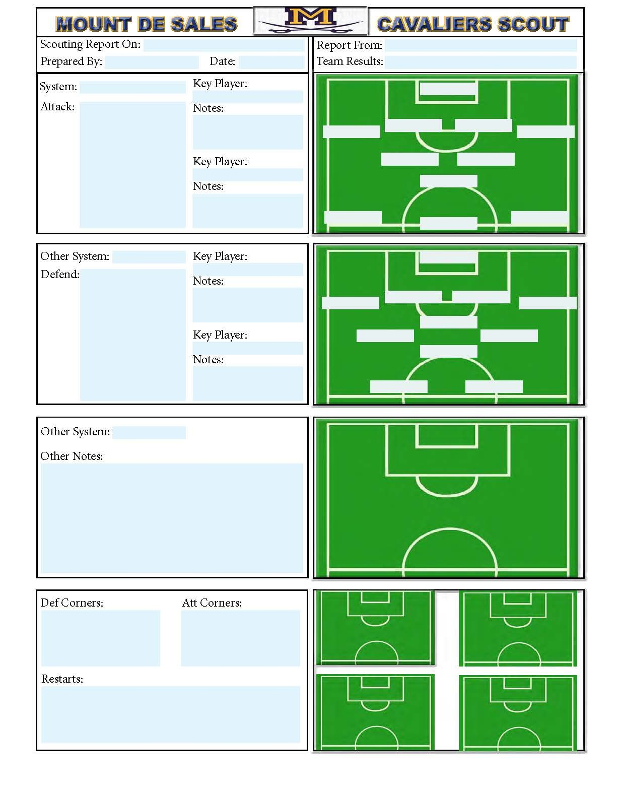 soccer team positions template - soccer scouting template other designs pinterest