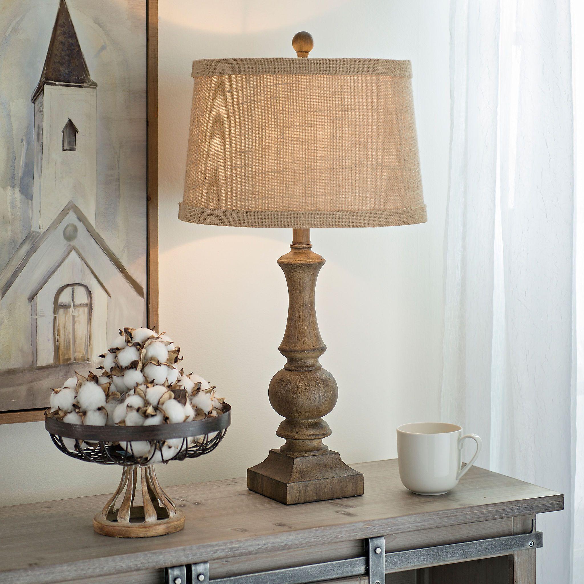 Woodgrain Table Lamp Table lamp wood, Farmhouse table