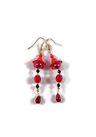 boucle oreille perle rouge
