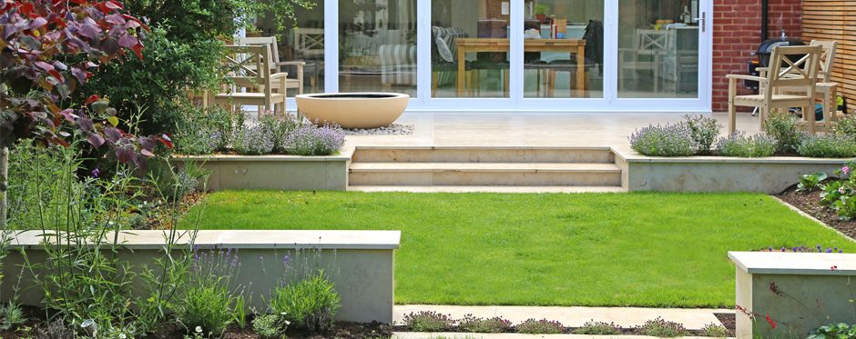 Jura Limestone Terrace With Lily Bowl Water Feature Water Features Garden Design Patio