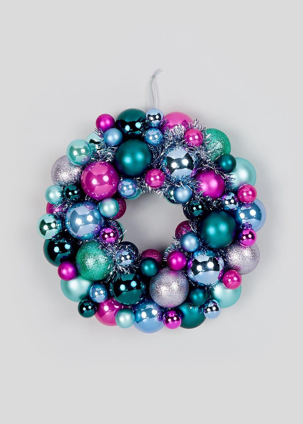 Christmas Tinsel & Bauble Wreath (34cm) – Multi