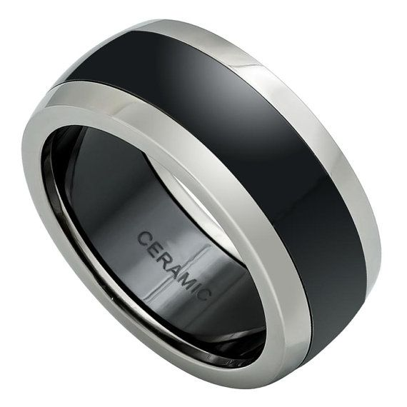 Wedding Band Domed Black Ceramic Center with Titanium Sides - 9mm Free Personalize Engraving by Lasertouch on Etsy