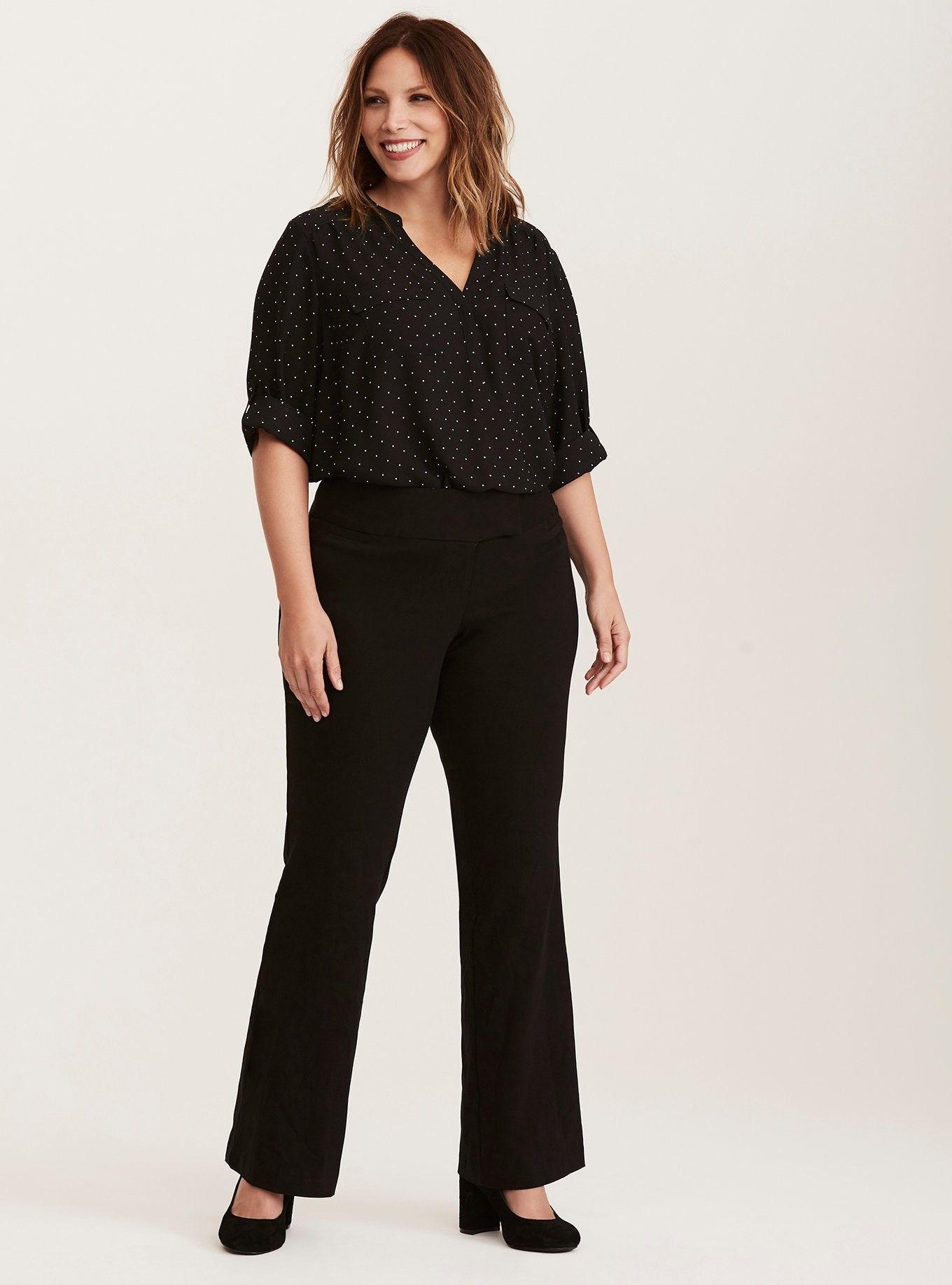Black relaxed trouser pant party dresses with sleeves