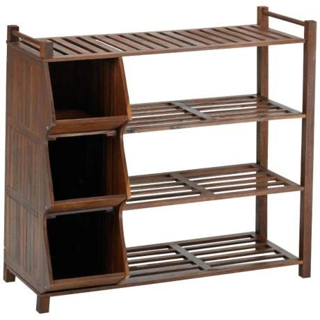 Fletcher Natural Acacia 4-Tier Outdoor Shoe Rack with Cubby -