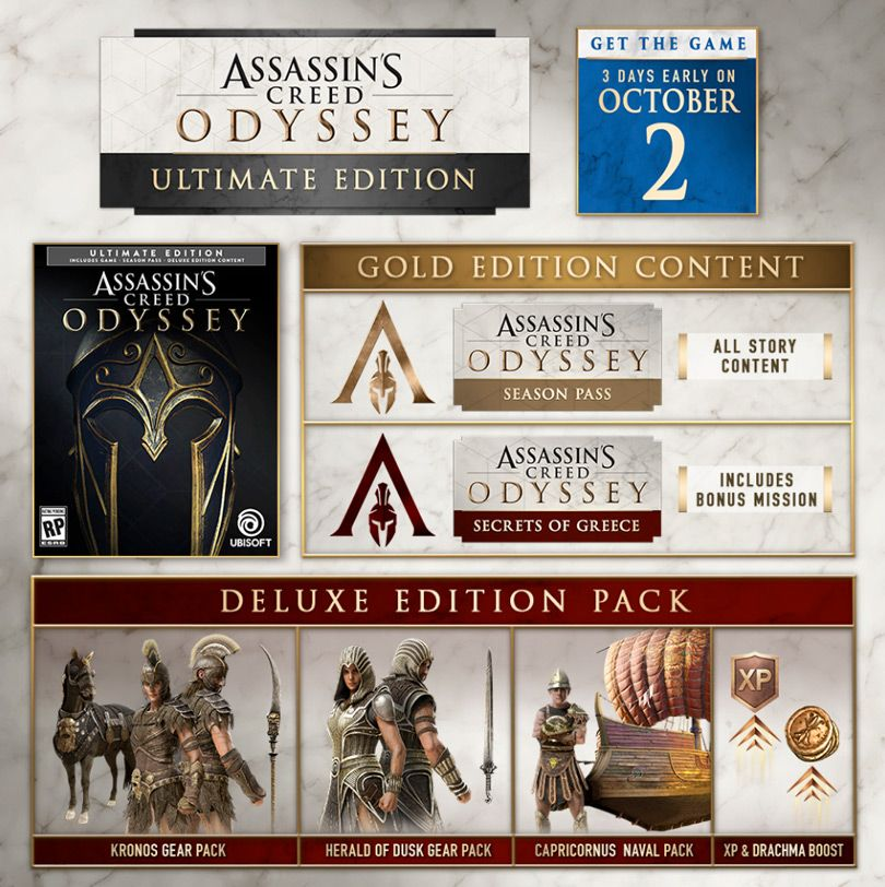 Ac Odyssey Editions And Season Pass Contents Assassins Creed Odyssey Assassins Creed Game Creed Game
