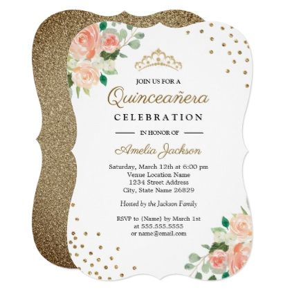 Peach gold floral confetti quinceanera invitation invitations peach gold floral confetti quinceanera invitation invitations custom unique diy personalize occasions solutioingenieria Image collections