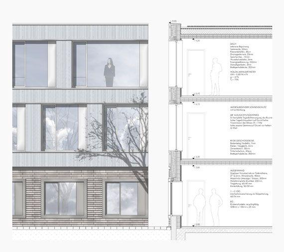 Fassadenschnitt Und Fassadenansicht 1:50