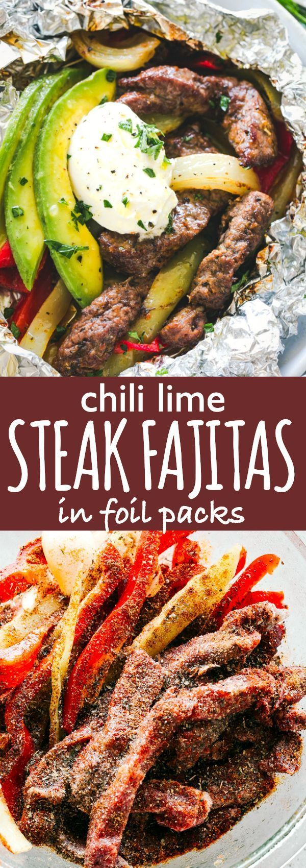 Chili Lime Steak Fajitas in Foil Packs - Tender, flavorful, and very easy to make Chili Lime Steak Fajitas prepared in foil packs! This no fuss, fresh, and seriously delicious steak fajitas recipe is sure to be a major hit! #foilpackdinner #steak #fajitas #lowcarb #keto #dinnerrecipes via @diethood #steakfajitarecipe