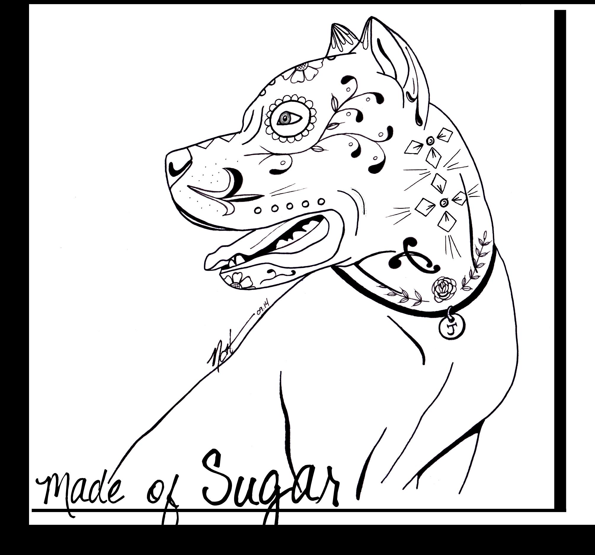 Pitbull Sugar Skull Coloring Pages Skull Coloring Pages Dog Tattoos Sugar Skull Tattoos