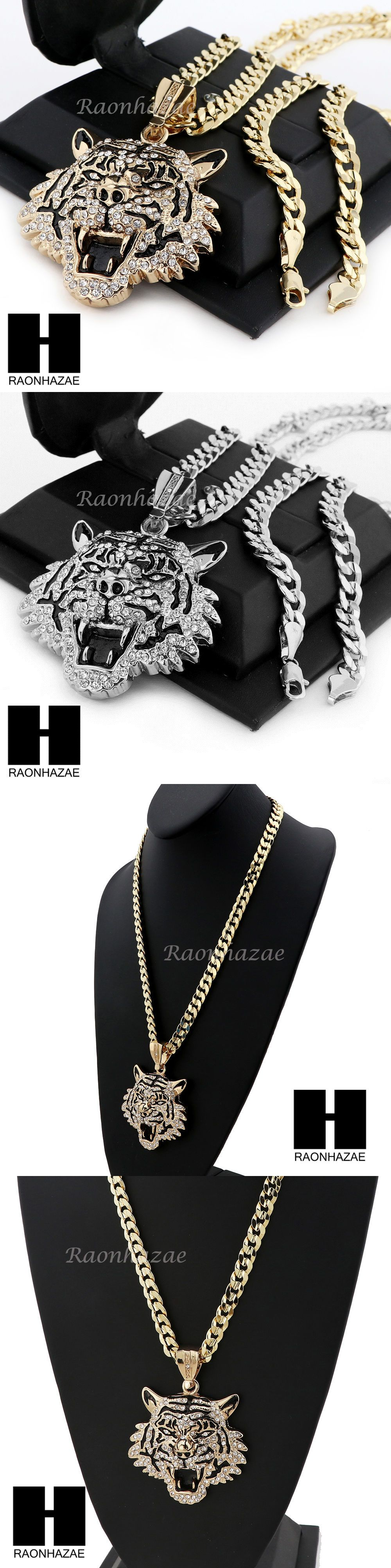 Chains necklaces and pendants mens hip hop iced out tiger
