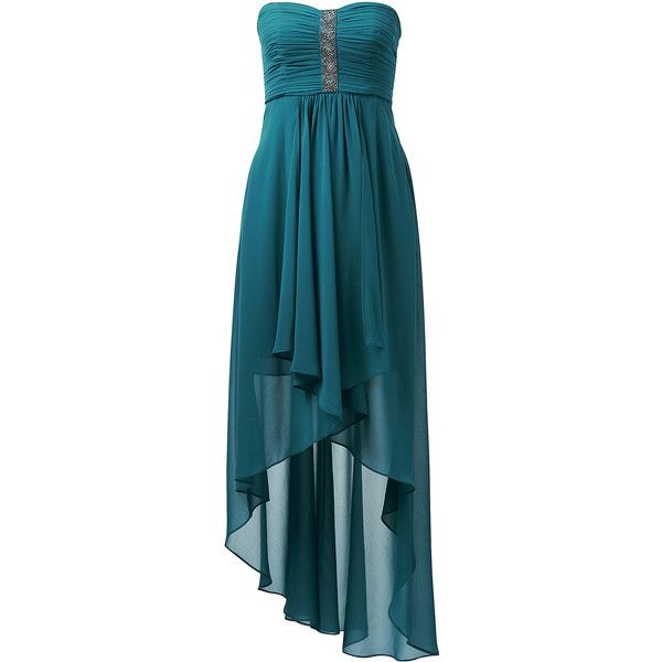 Forever New Kerise high low dress ($86) ❤ liked on Polyvore featuring dresses, gown, blue dress, blue high low dress, blue cocktail dress, evening dresses and short in front long in back dress
