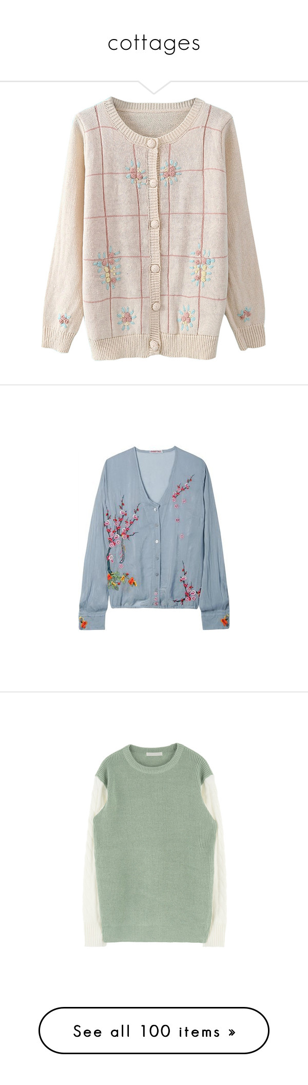 """""""cottages"""" by sleepyseas ❤ liked on Polyvore featuring tops, cardigans, outerwear, clothing - cardigans, jackets, beige, button down cardigan, button up tops, beige cardigan and pink top"""