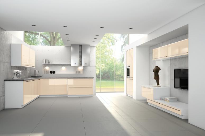 Cashmere High Gloss Lacquer Beige Modern Kitchen Cabinets Contemporary Kitchen Modern Kitchen Lighting Blue Kitchen Cabinets