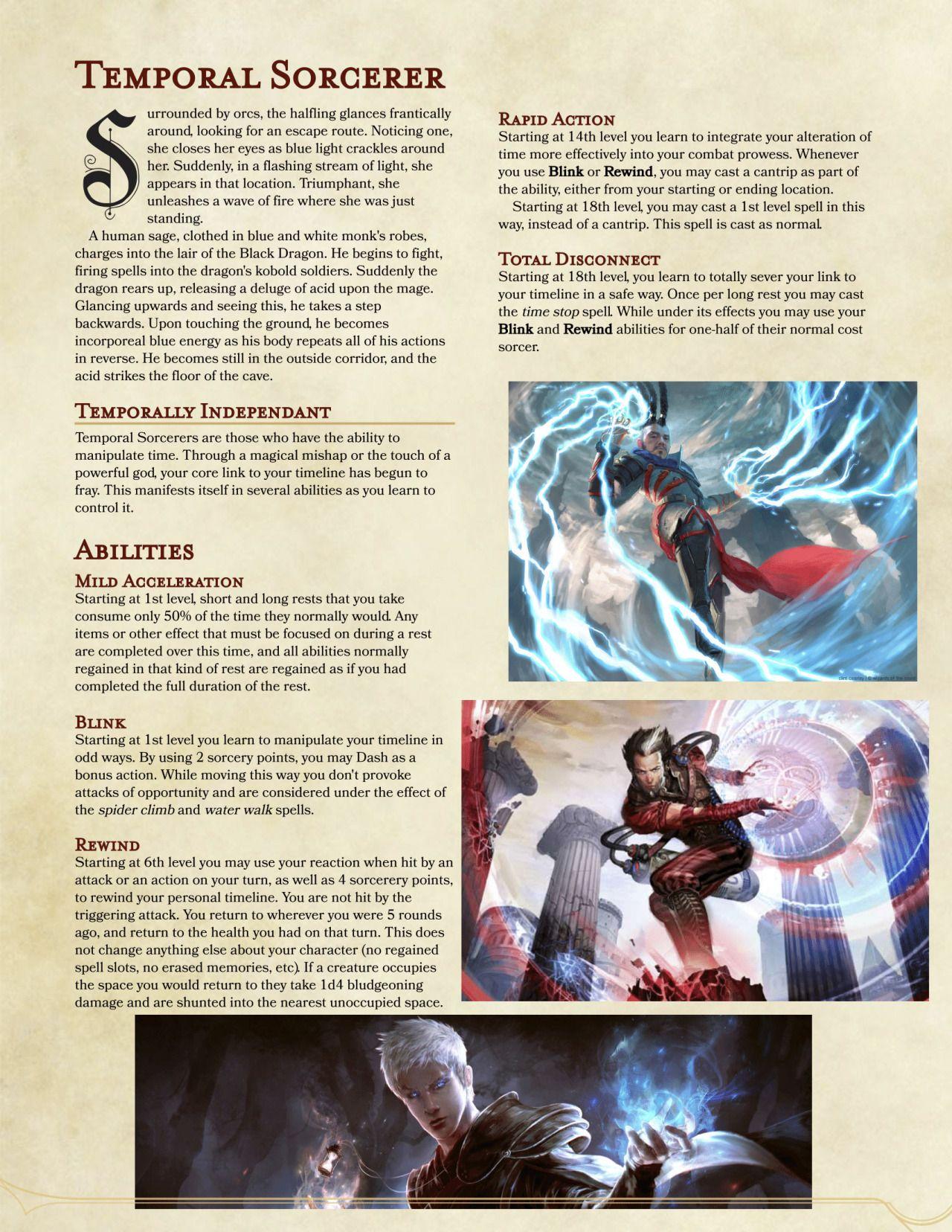 DnD 5e Homebrew — Temporal Sorcerer by megaPisces617   D&D