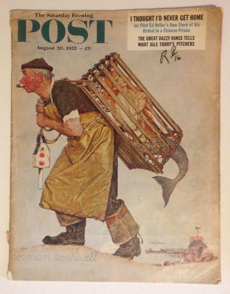 Saturday Evening Post 1955 Magazine Rockwell Lobsterman w Nude Mermaid! HTF GVC