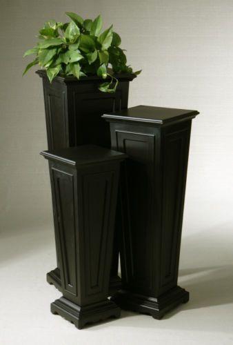 3 Black Mdf Wood Plant Stand Column Pedestal Tables Flower Pot Holder Display Plant Stand Wood Plant Stand Black Plant Stand