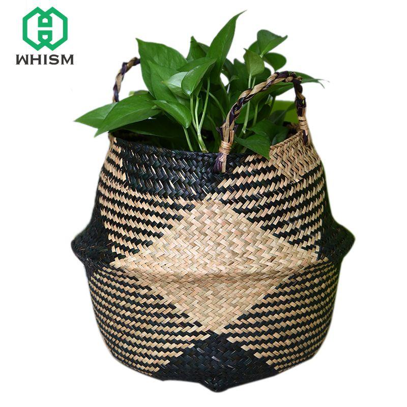 Whism Rattan Belly Storage Basket Wicker Basket For Toys Hanging Basket Garden Planter Handmade Flowerpot Straw Laundry Basket Home Storage & Organization Storage Baskets