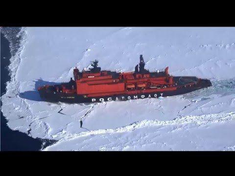 Navio quebra gelo em ação - YouTube
