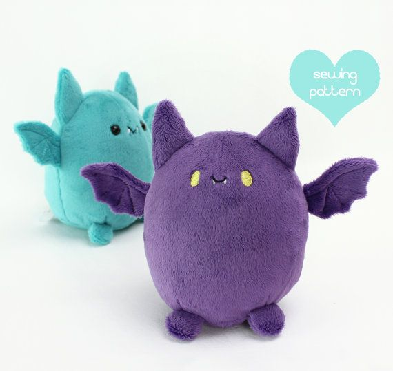 PDF sewing pattern - Pudgy Bat halloween kawaii plushie - cute easy ...