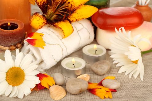 Flowers and Candles - Candle, Flower, Spa, Stone, Petal, Soap, Lovely, Beautiful, Shell, Daisy