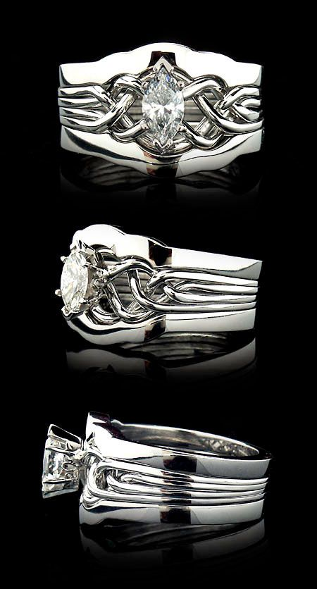 Marquise Diamond Puzzle Ring with Dual 2mm Shadow Bands -I asked how much to get the companion bands 7/20/2015