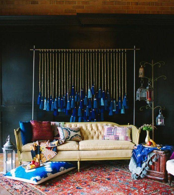 ide peinture mur bleu ptrole canap style baroque une dcoration indigo couleur et coussin