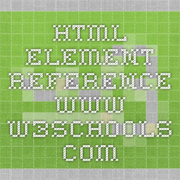 Html Element Reference W3schools Reference Sheets