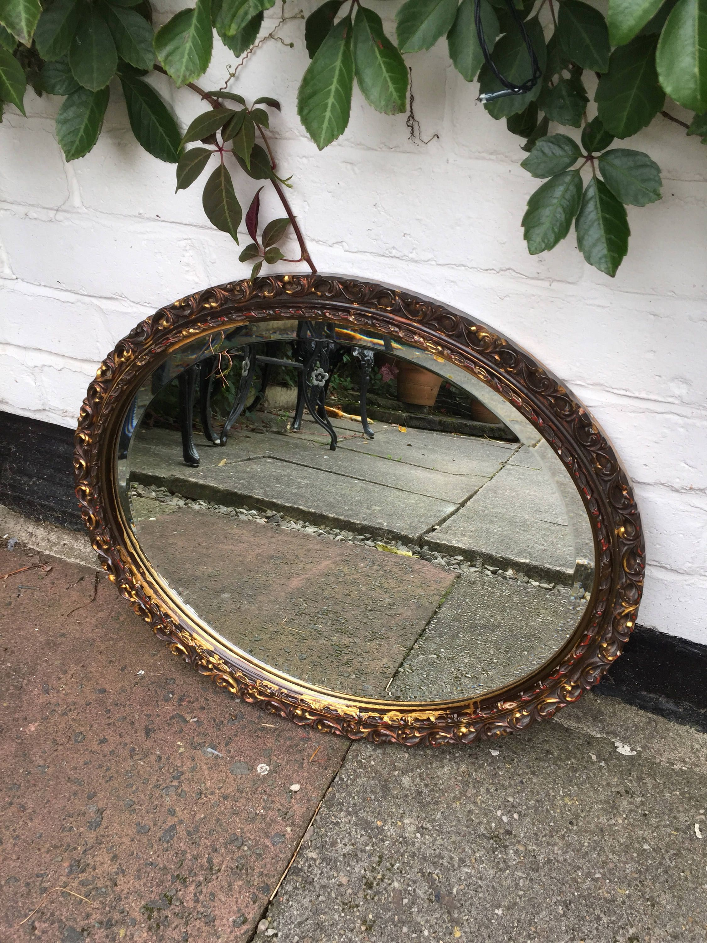 Beautiful vintage round etched scalloped mirror floating