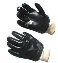 PVC Coated Gloves Knitwrist- A customer favorite for industrial, oil and energy service.  PVC coating is a synthetic thermoplastic polymer that provides excellent abrasion resistance and effective protection against caustics, oils, greases, chemicals and solvents. High performance, long wearing and low cost. $1.16/Pair