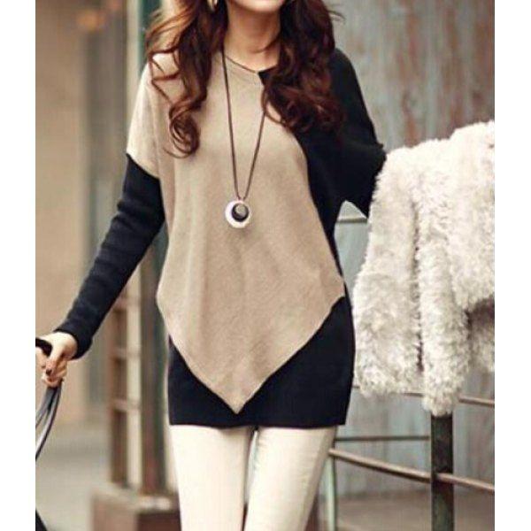 Elegant V-Neck Color Block Long Sleeve Loose-Fitting T-Shirt For ...