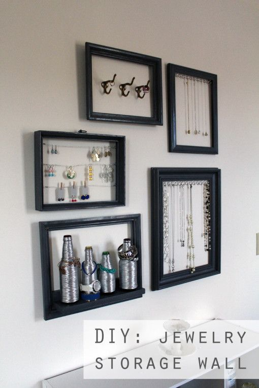 Jewelry Storage Wall DIY -- lots of different types of storage ideas! // - Jewelry Storage Wall DIY -- Lots Of Different Types Of Storage