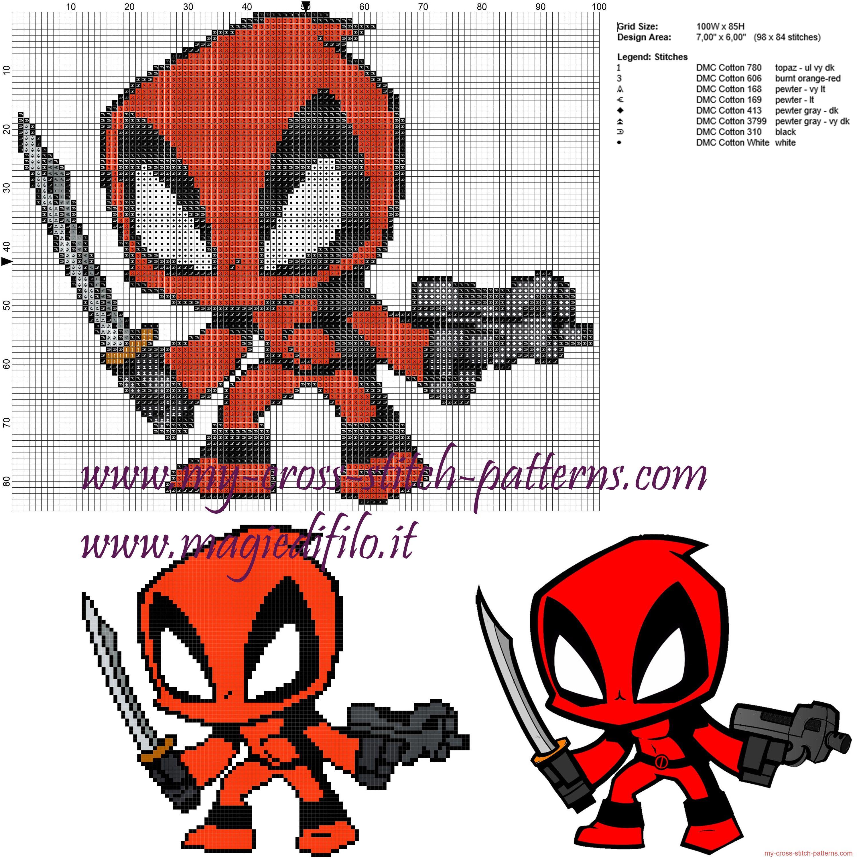 Deadpool patrón punto de cruz | manualidades | Pinterest | Punto de ...