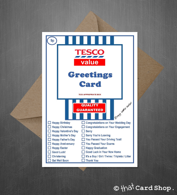 Tesco Value Funny Joke Greetings Card For Literally Any Occasion