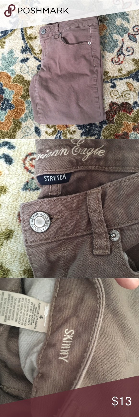 *Reposh* Khaki American Eagle jeans Bought these from another posher but they just didn't fit right. They are in excellent condition and I never wore them. Size 4 skinny jeans American Eagle Outfitters Pants Skinny