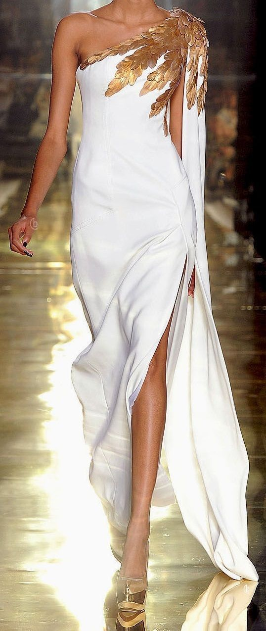 Long white dress with gold accessories,evening dress,chic party dress #allwhiteparty