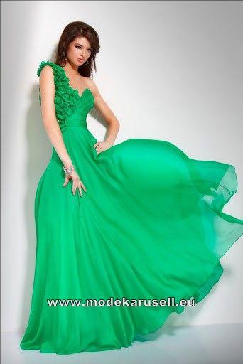 Grünes One Shoulder Gala Kleid Abendkleid | günstige Abendkleider ...