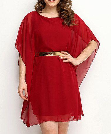 Look what I found on #zulily! Burgundy Belted Cape-Sleeve Dress - Women #zulilyfinds