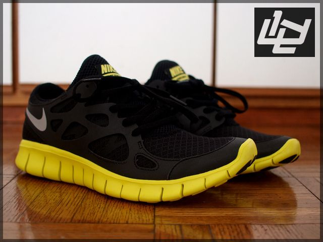 sale retailer 2a8c3 6c670 Nike Free Run +2 Reflective - Black / Electric Lime ...
