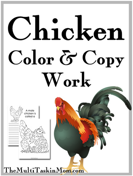 Free Chicken Themed Coloring and Copywork Pages