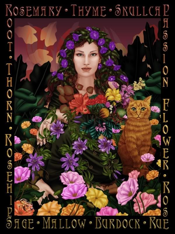 The Goddess w/ herbs and flowers....necessities to the witches crafting