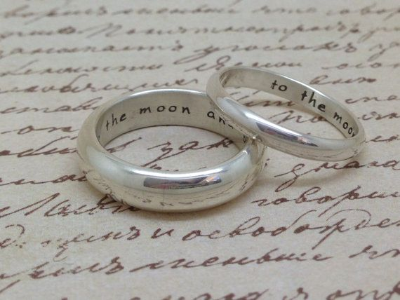 Custom Personalised Ring Bands His And Her Rings Meval Style Half Round In