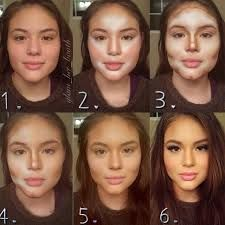 image result for heart shaped contour before and after makeup
