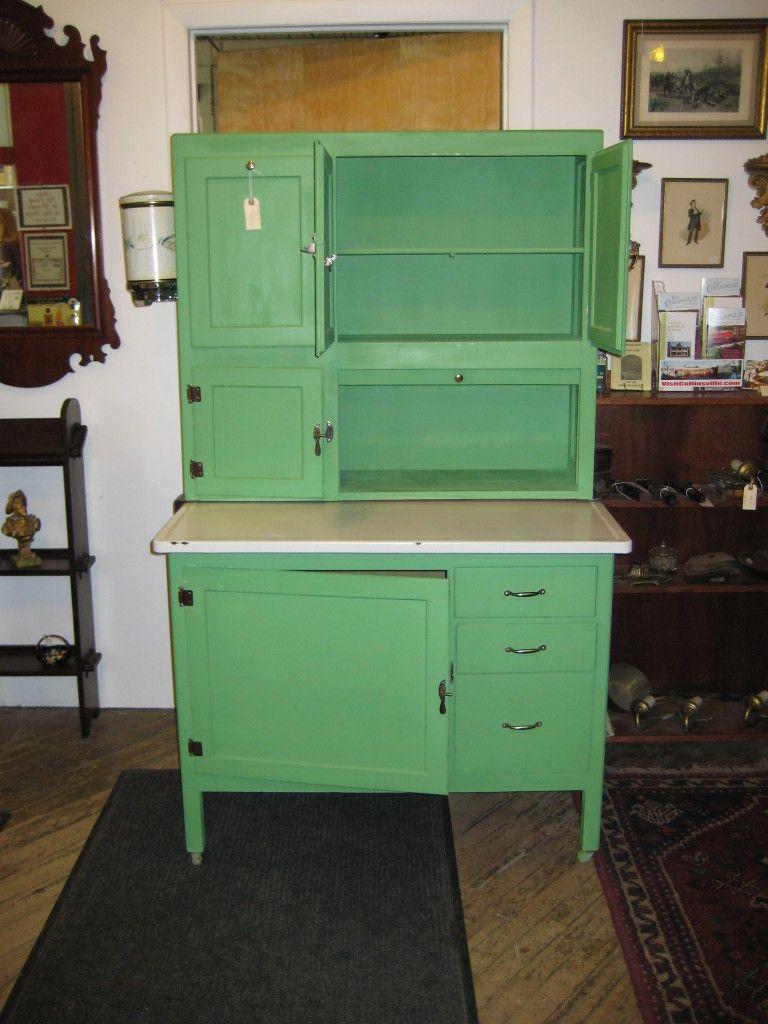 Dark Green Color Design For Antique Kitchen Cabinet Moveable