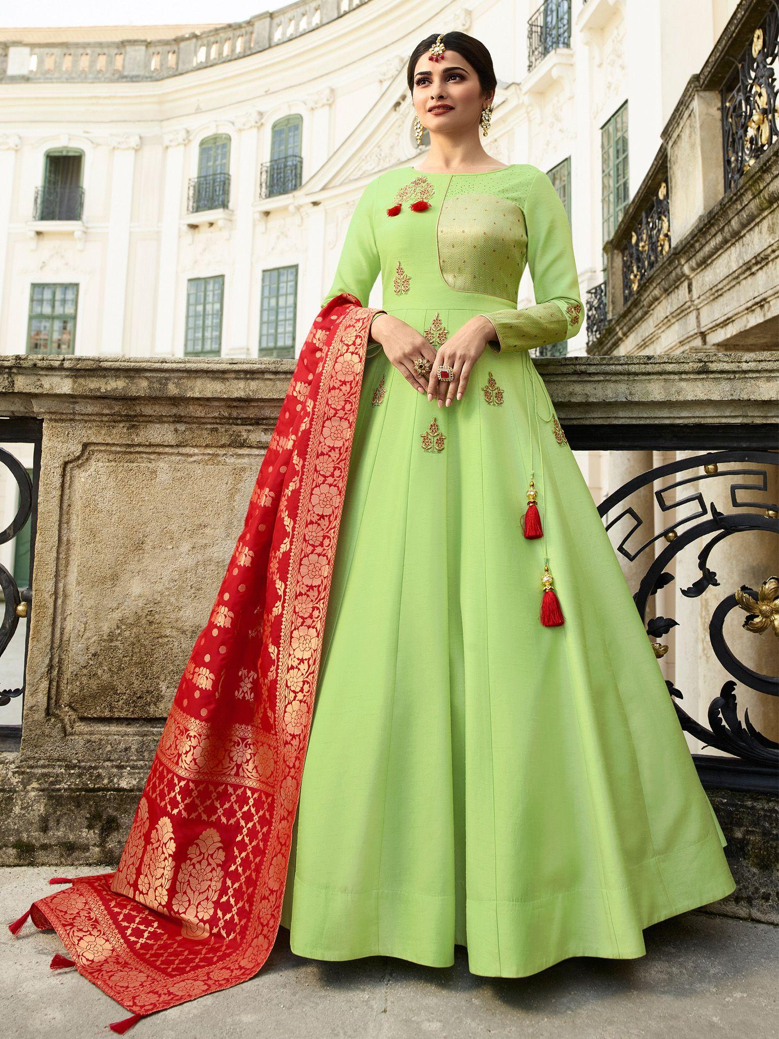 01cc27a1ef Best Pista Green Color Kt Silk Fabric Designer Gown | Vastravibe in ...