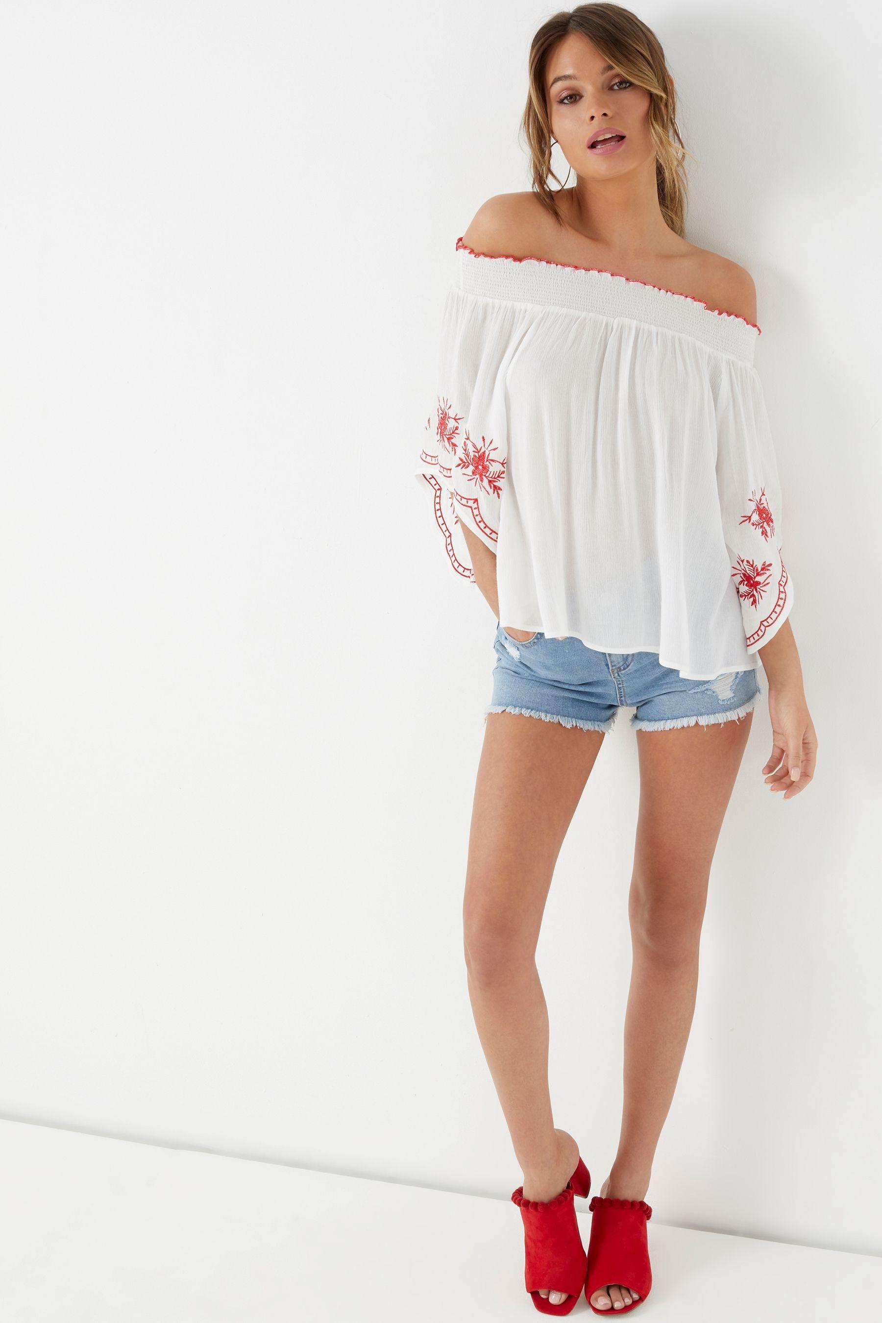 059cfddcbb977d Womens Boohoo Embroidered Sleeve Bardot Top - White