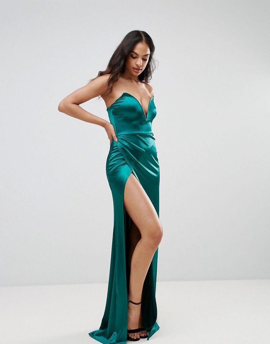 92d26dd427ad Club L Plunge Front Bandeau Maxi Dress With Thigh Split - Green  camidress