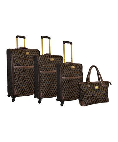 This Signature Jacquard Four-Piece Luggage Set is perfect! #zulilyfinds