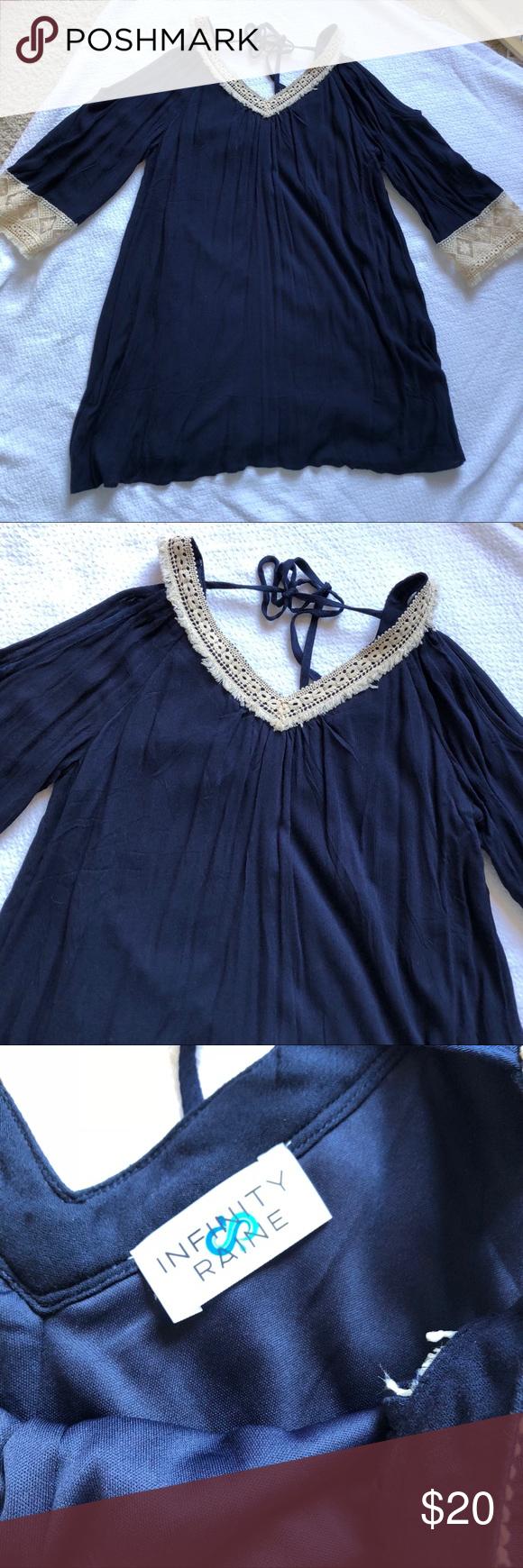 Infinity raine cold shoulder navy boho dress in my posh picks
